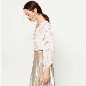NWT Zara Hummingbird Print Long Sleeve Blouse